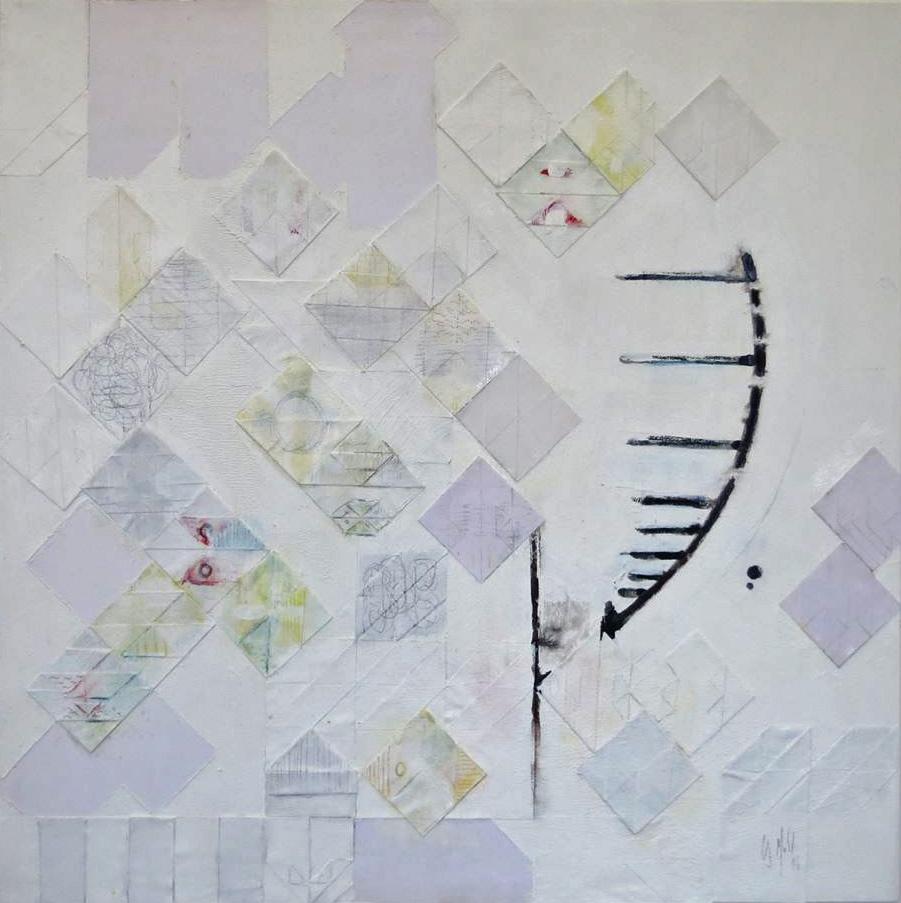 Memory, Acrylfarbe, Tusche, Bleistift und Kreide auf Papierfaltungen auf Leinwand, 40x40, ©2016