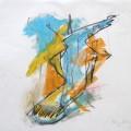"""""""Der Prophet"""", div. Kreiden/Bleistift auf Leinwand (42x52), ©2004"""